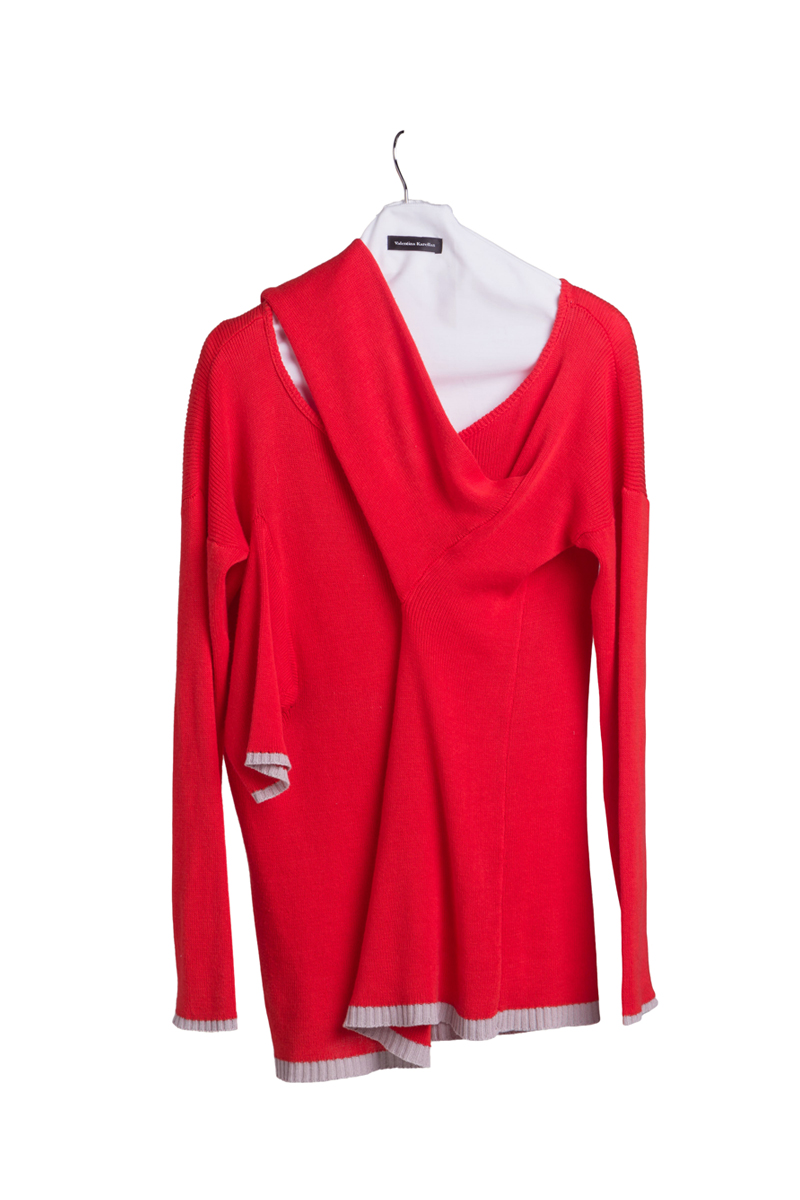 knitted red cotton dress sweater