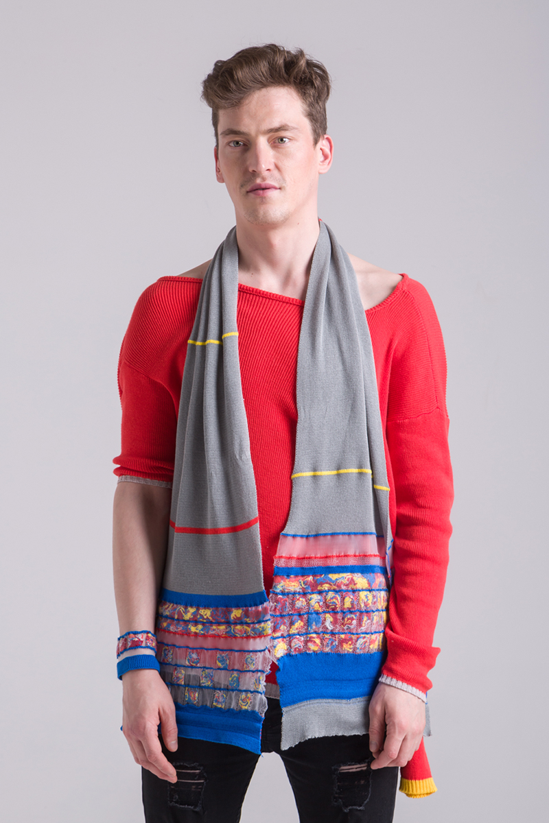 mens knitted grey scarf handmade zero waste