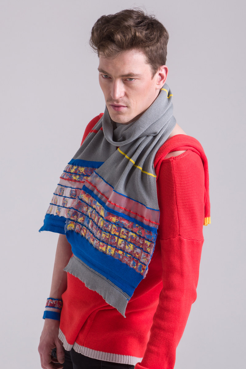 cotton grey knitted scarf