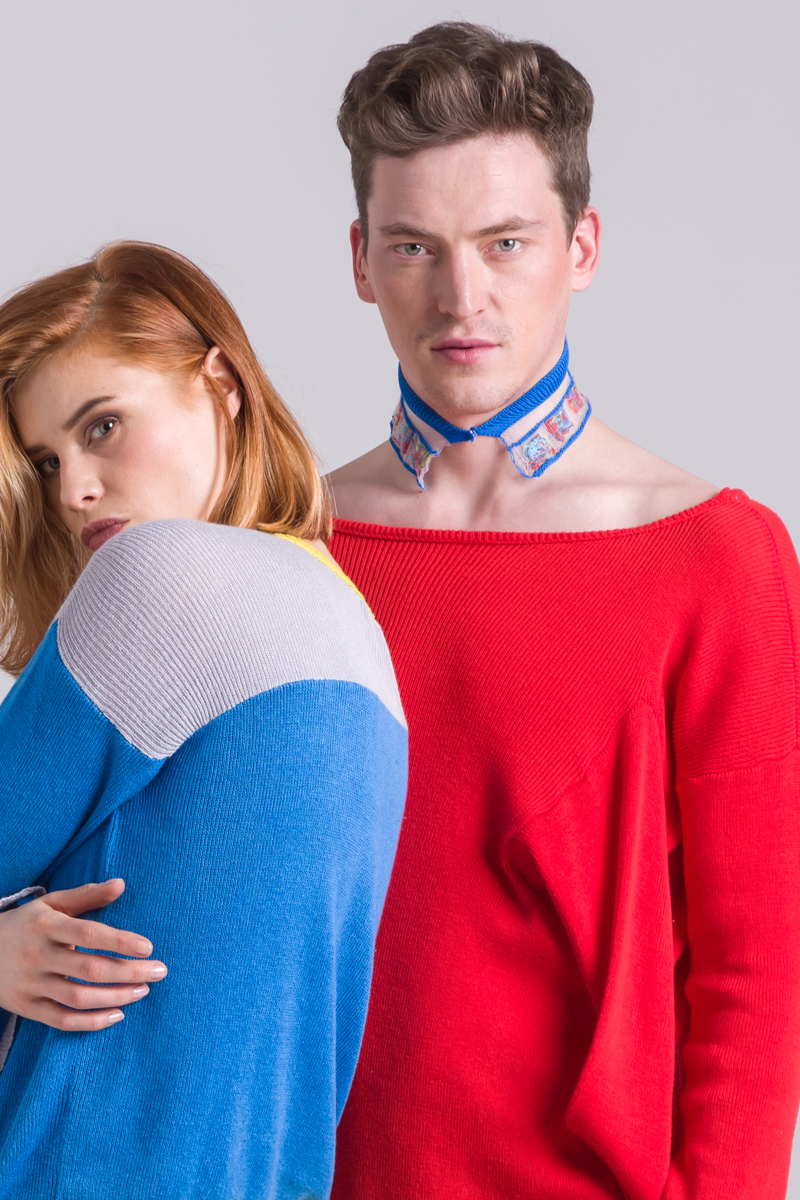 blue knitted collar unisex