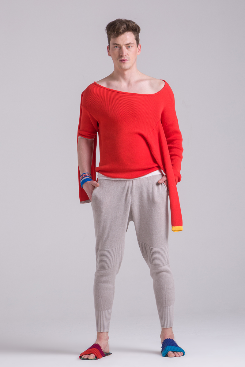 knitted summer loose fit grey trousers men