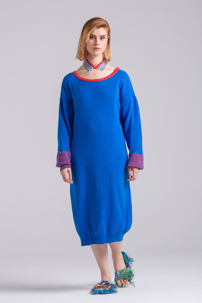 Knitted blue long cotton summer dress