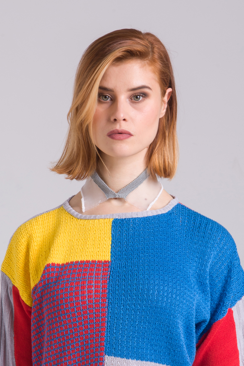 Knitted transparent collar unisex