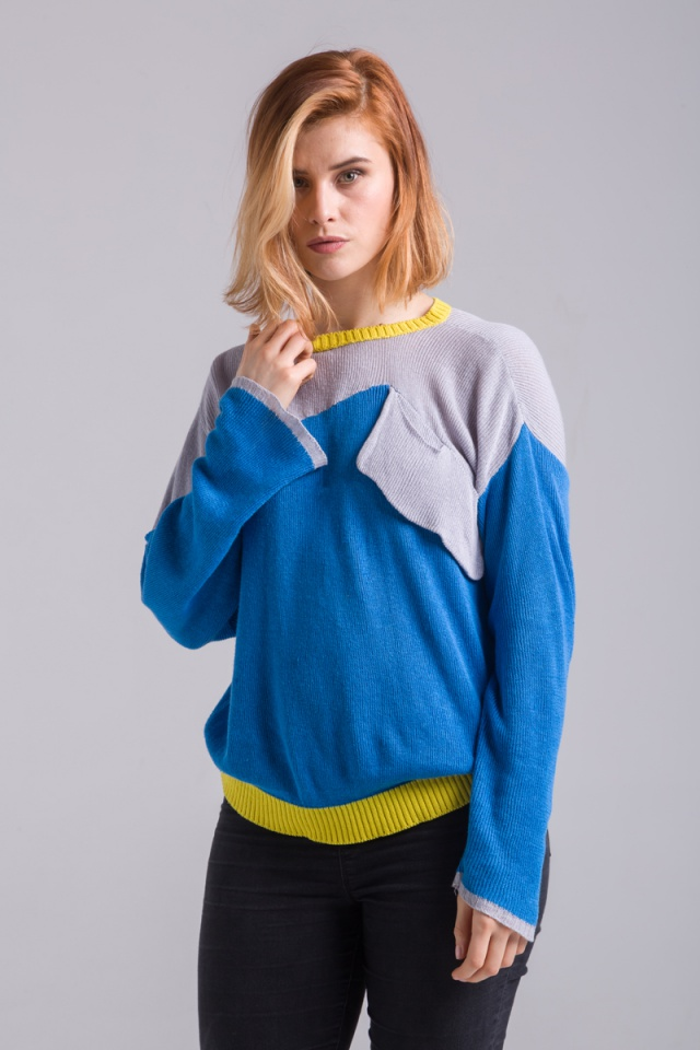knitted blue cotton sweater jumper summer