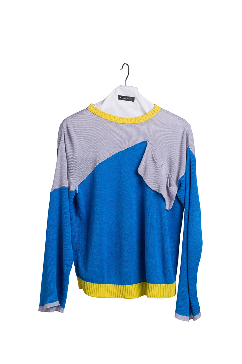 knitted blue cotton grey yellow fashion sweater