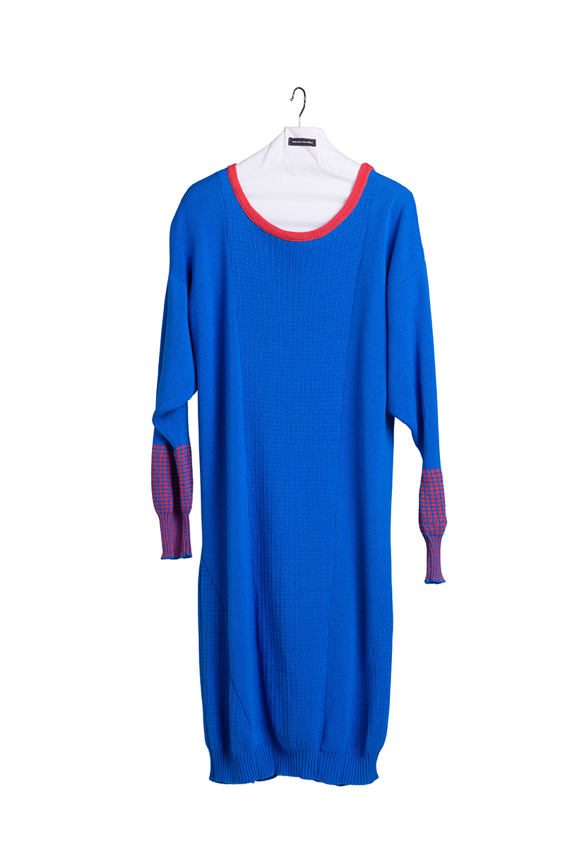 knitted long blue dress cotton