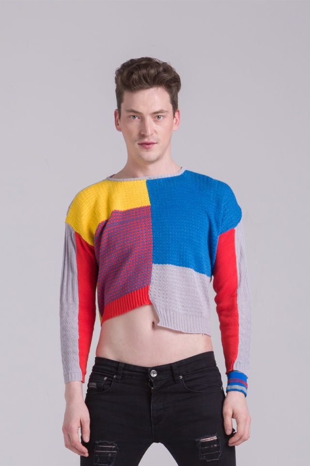 cotton bold colours textured knitted sweater mens