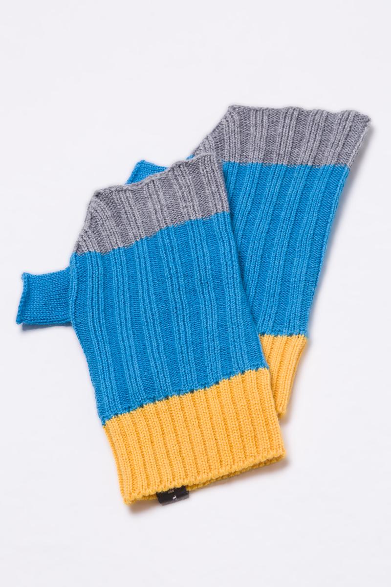 Knitted fingerless mittens gloves unisex turquoise