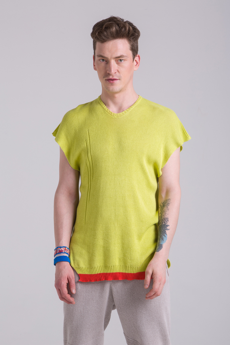 lime knitted cotton dress unisex top