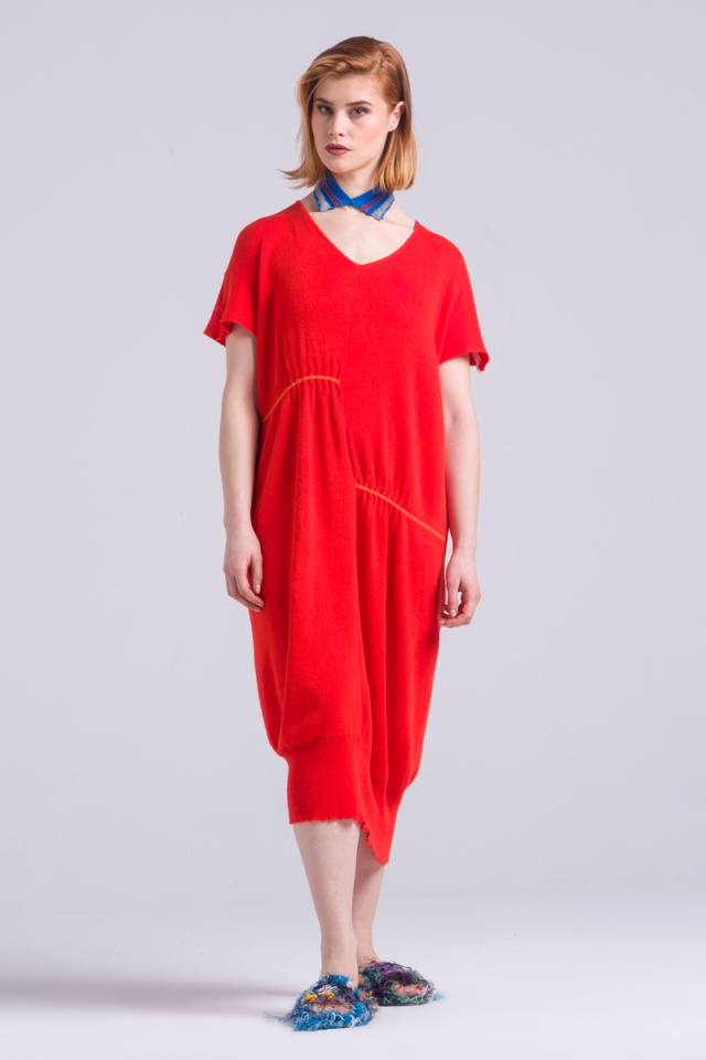 Red cotton summer soft dress