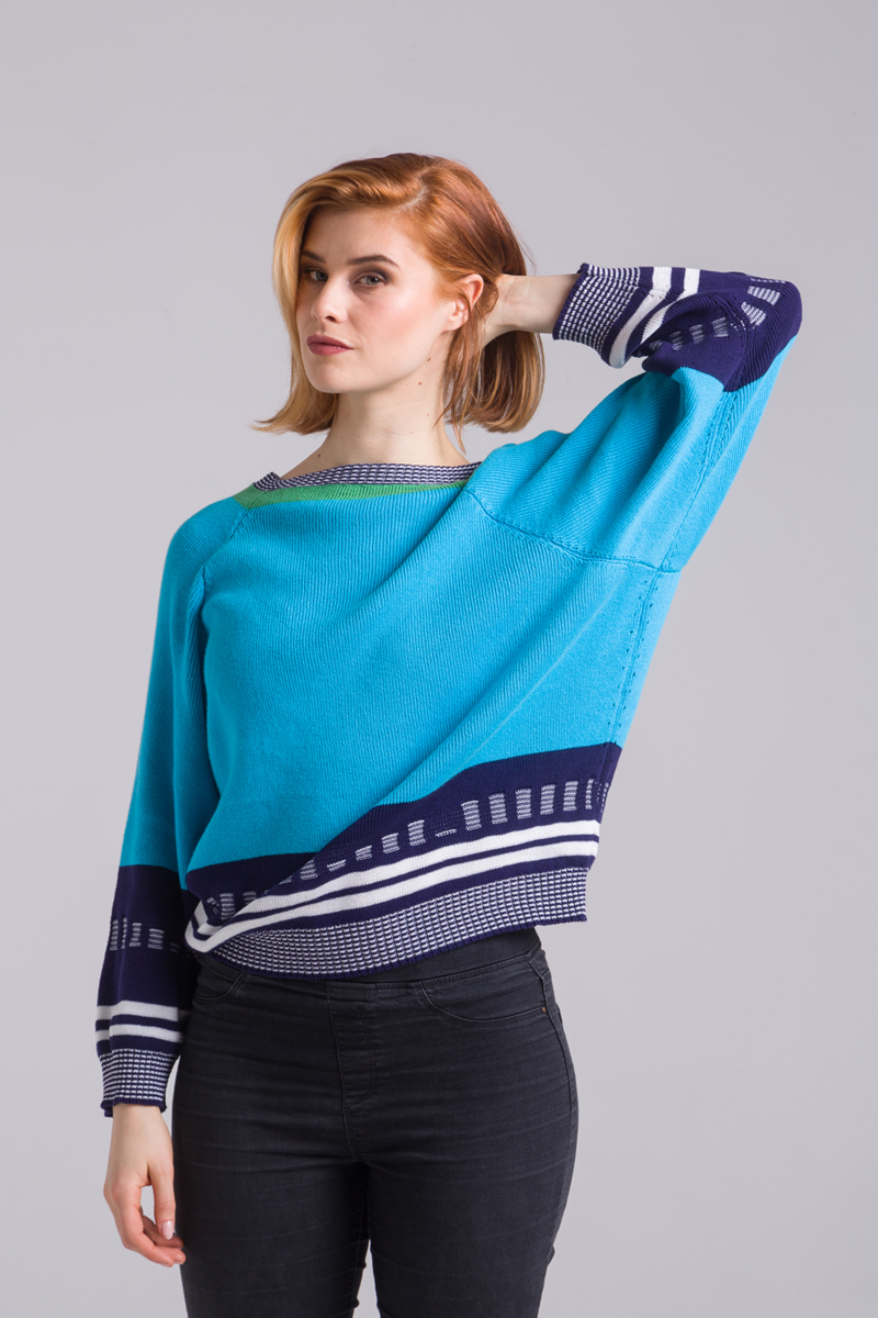 Turquoise sweater knitted unisex waste yarn