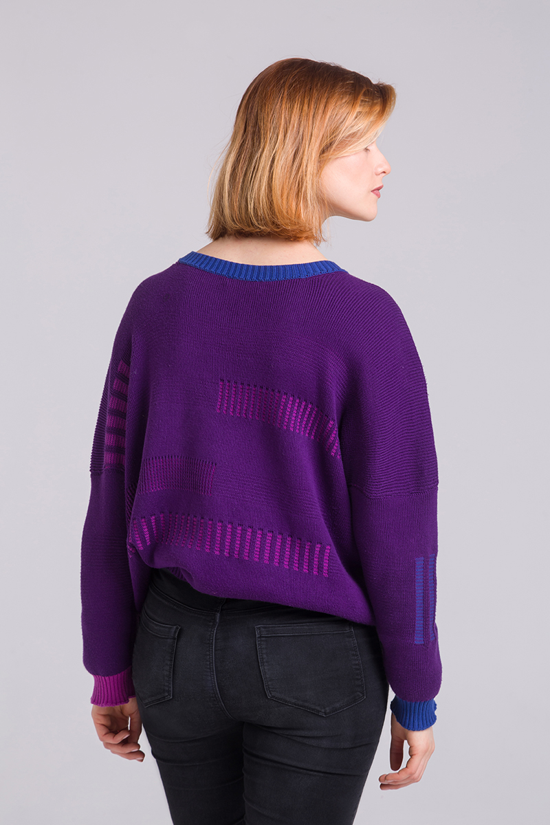 Knitted cotton purple jumper