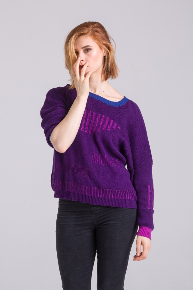 purple cotton sweater unisex