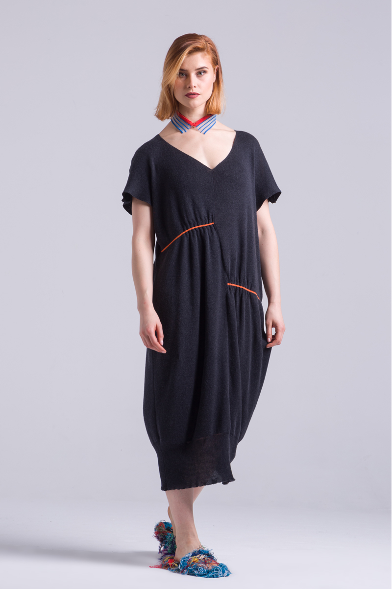 knitted charcoal colour soft dress