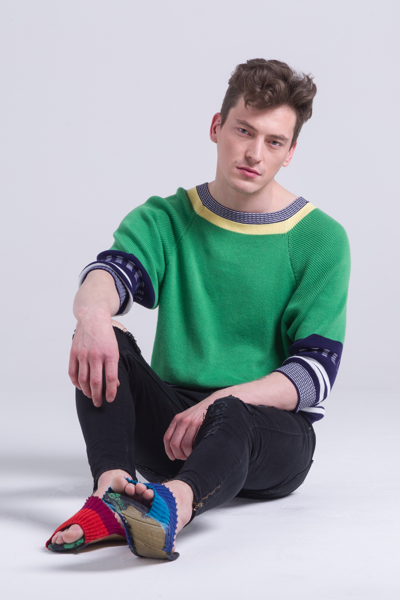 Cotton unisex sweater knitted jumper green