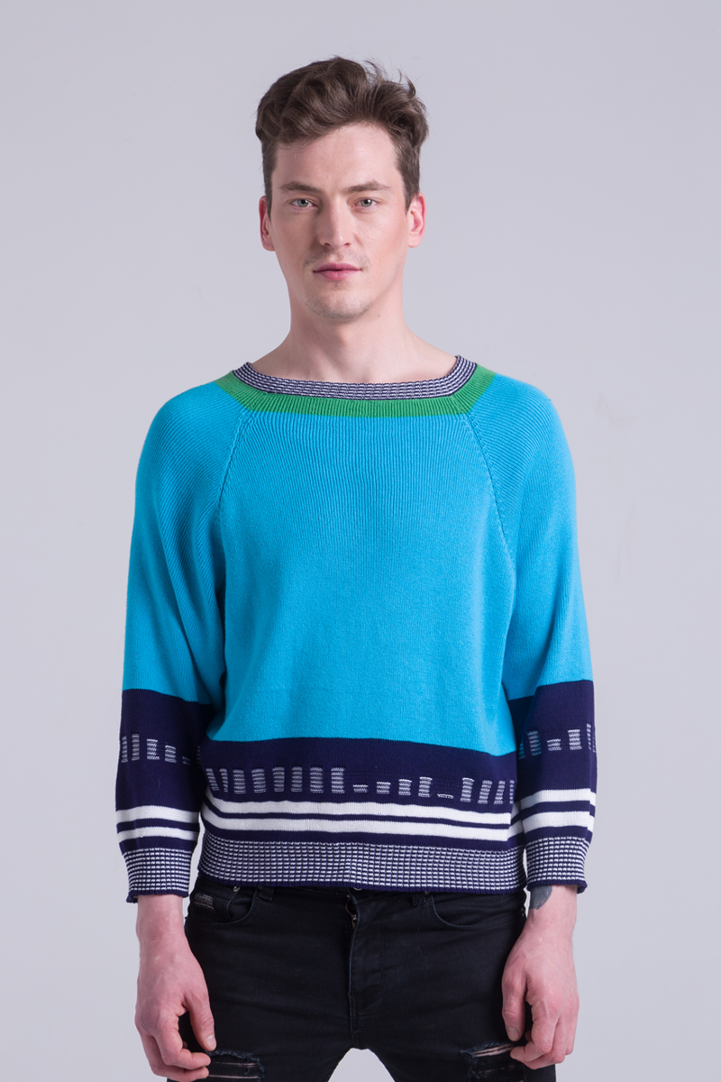 Cotton unisex turquoise sweater jumper