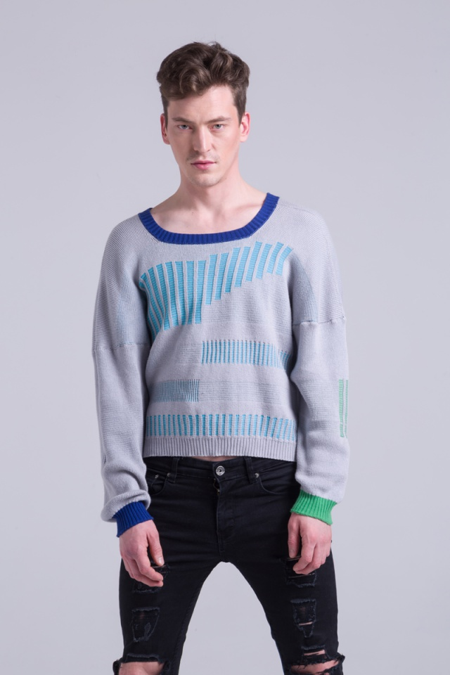 Cotton knit grey sweater jumper mens