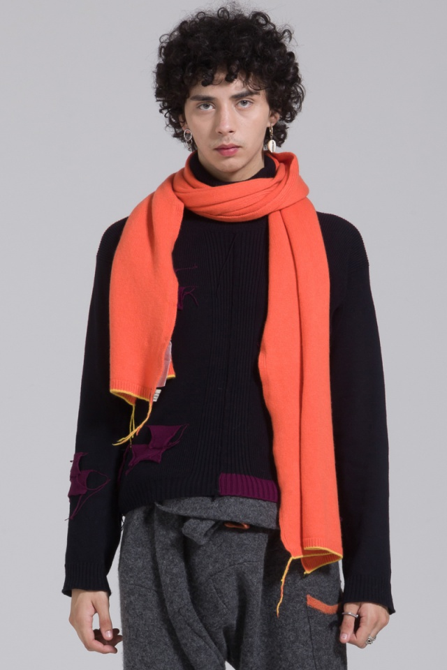 knitted orange cashmere scarf