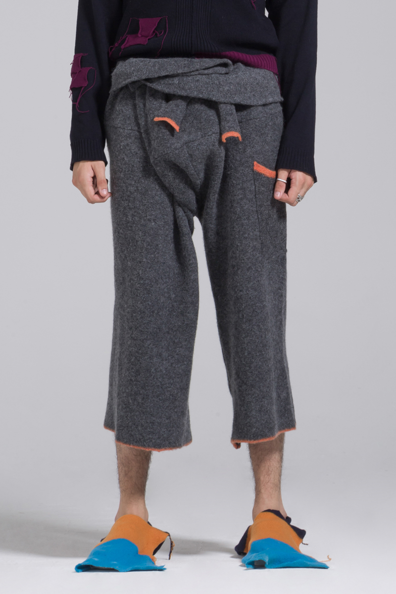 dark grey lambs wool trousers