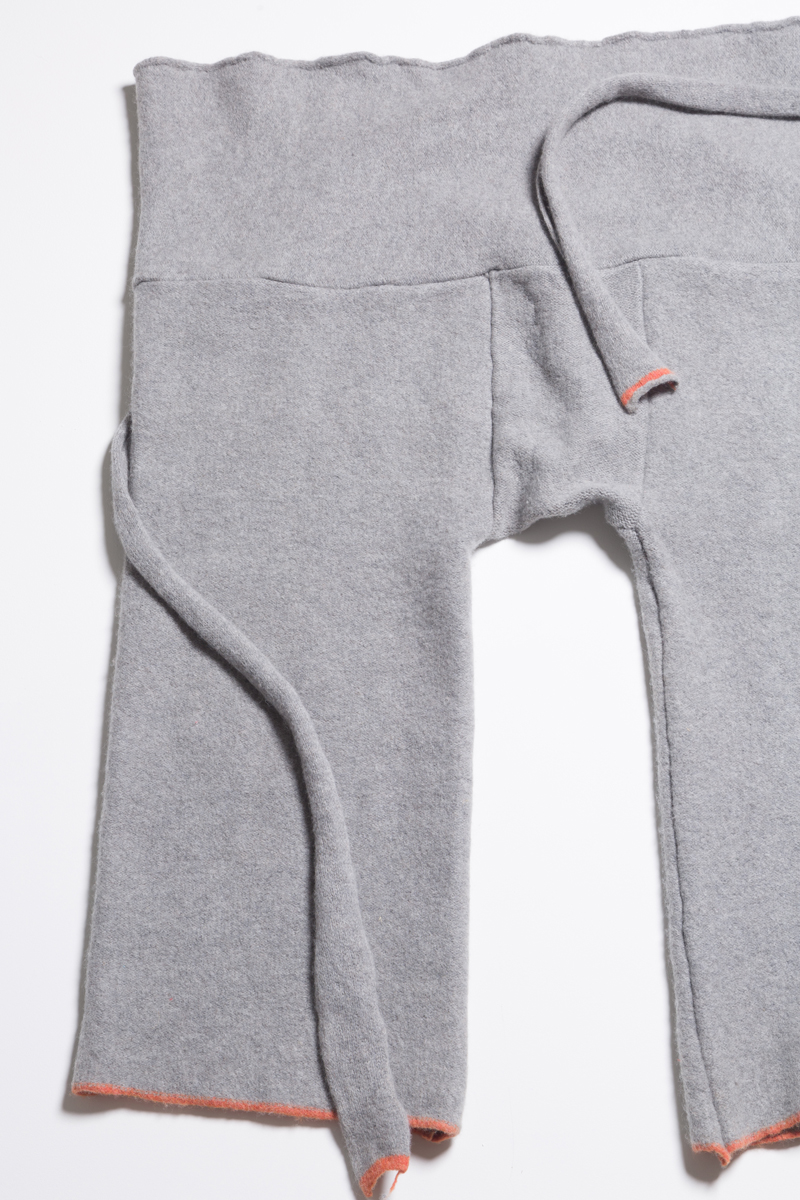 light grey knitted wool trousers loose