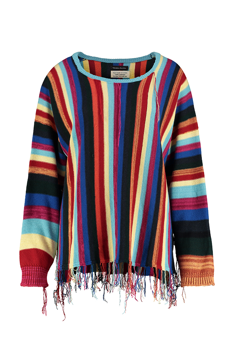 Bright striped cashmere jumper round neck