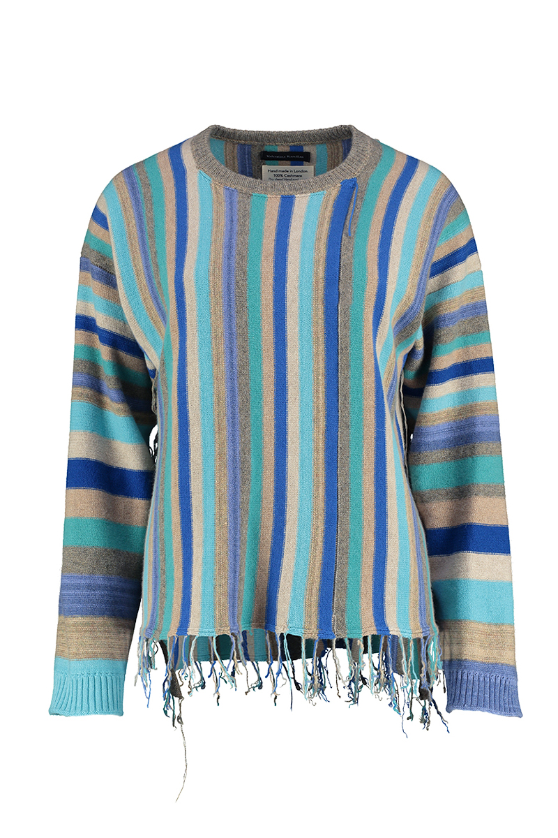 Beige striped jumper cashmere