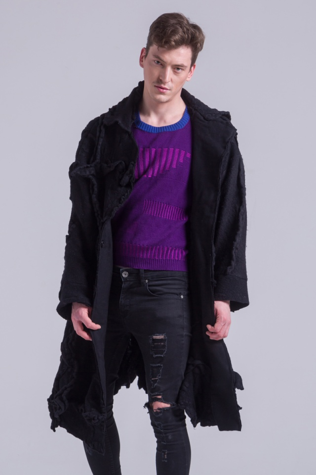 black felt knitted mens jacket