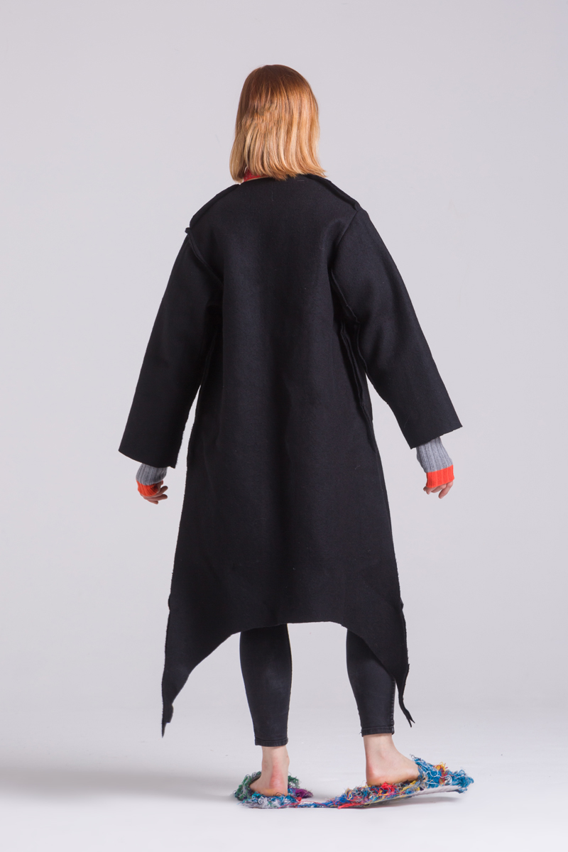 Merino Wool black coat thick