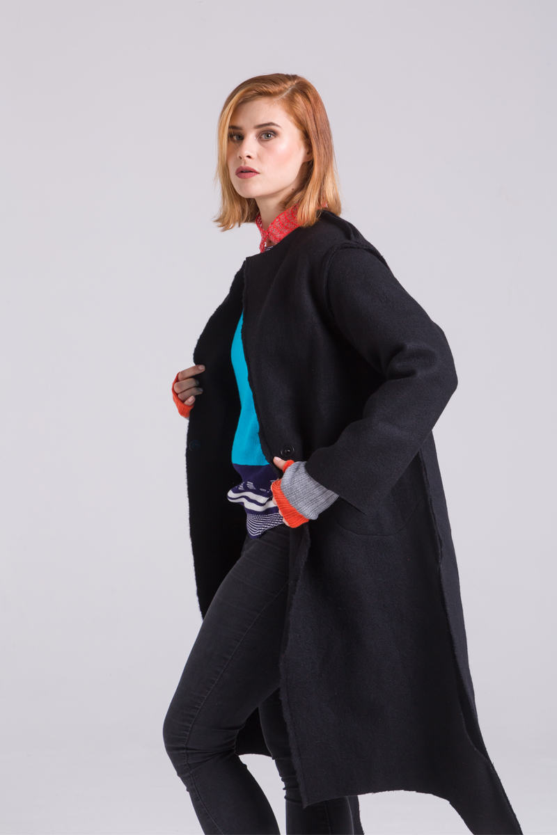 Unisex black merino wool coat