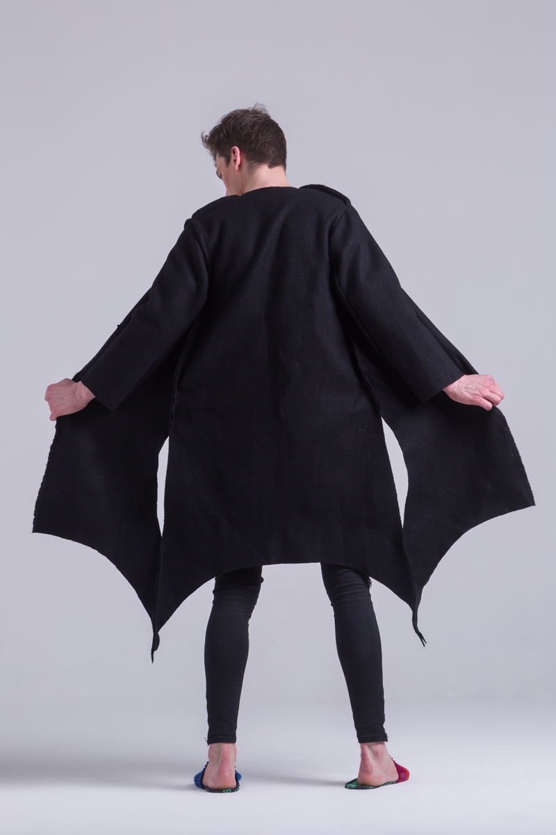 Merino Wool black coat thick unisex recycled