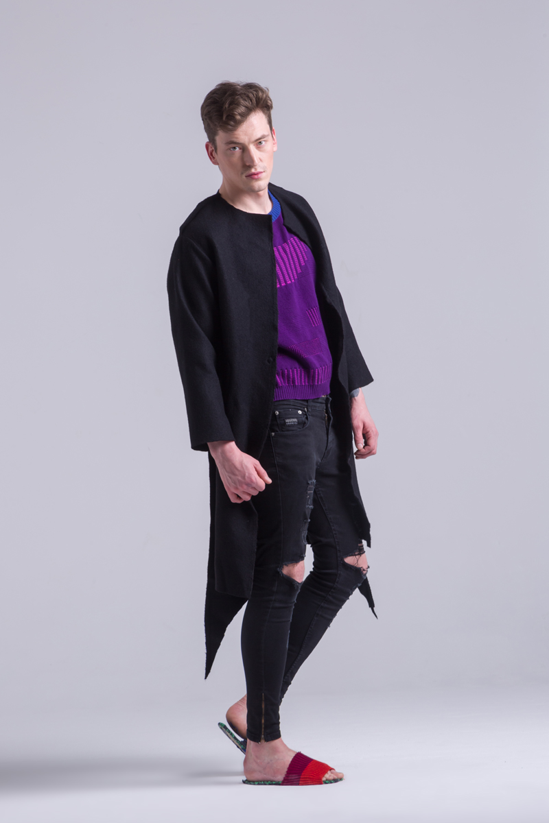 Merino Wool black coat thick long mens
