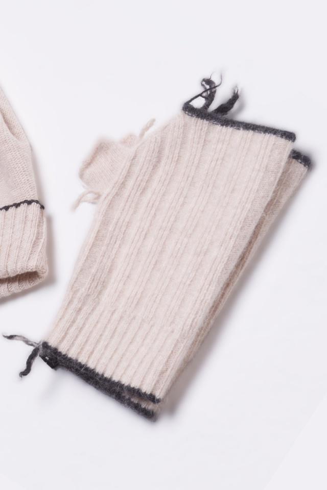 cashmere mitten fingerless gloves unisex beige