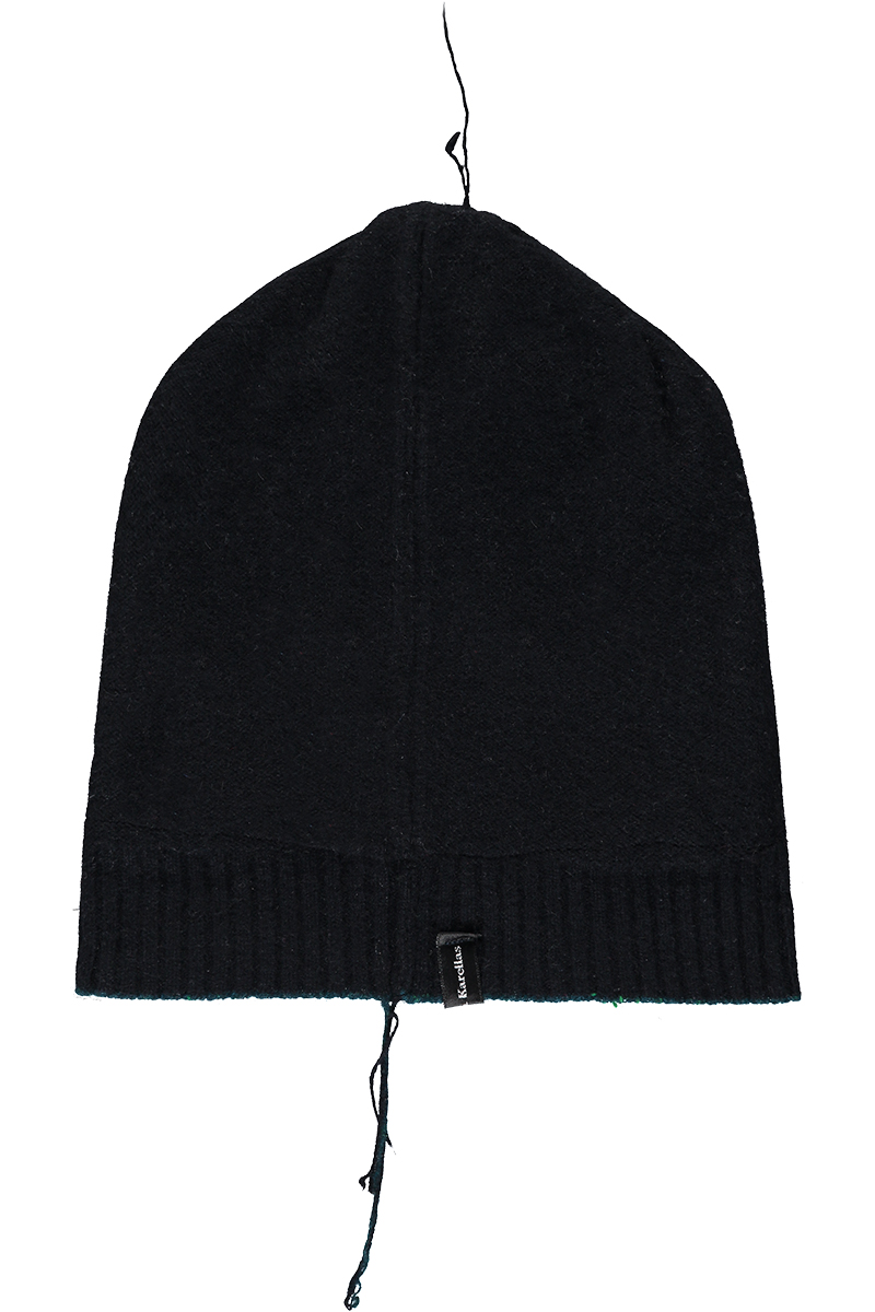 Cashmere black beanie with silk lining