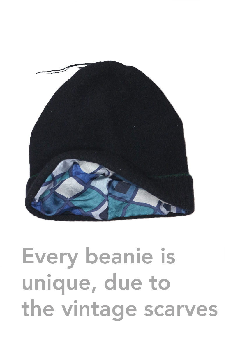 black cashmere silk lined beanie