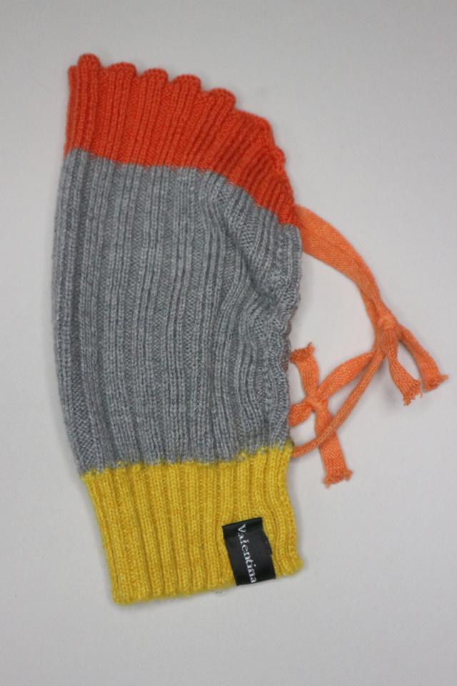 Grey knitted merino wool winter face mask