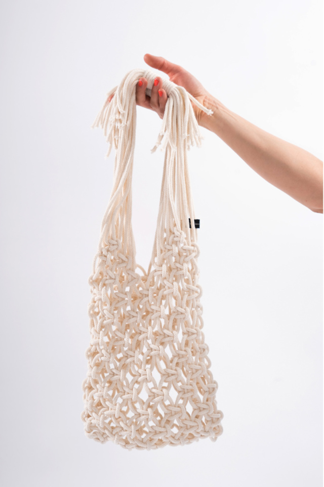 Macrame cotton handmade tote bag